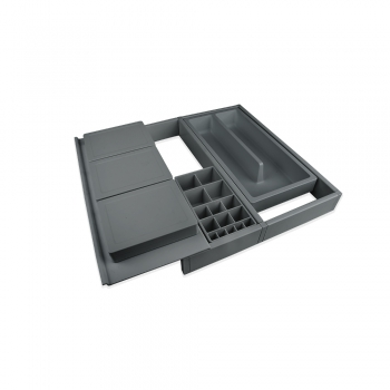 Organizador cajones de baño, regulable 307-402 mm, Plástico, Gris antracita