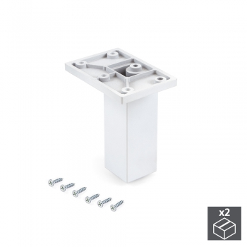 Pie para mueble, central, regulable 100 - 110 mm, Plástico, Blanco, 2 ud.
