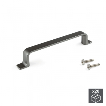 Tiradores para mueble, intereje 96 mm, Zamak, color titanio, 20 ud.